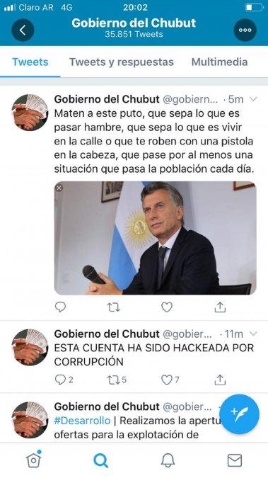Hackearon la cuenta de Twitter del gobierno de Chubut