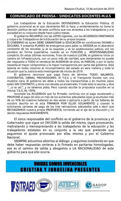 Trabajadores estatales le respondieron al Gobierno Provincial