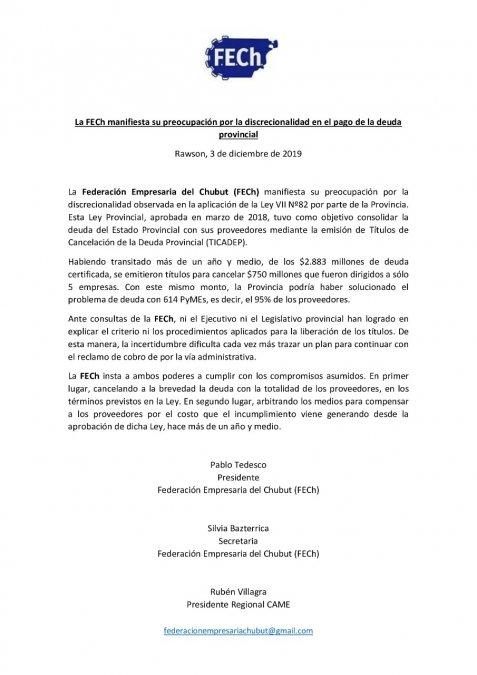 La Federación Empresaria disconforme con la cancelación de deudas de Provincia