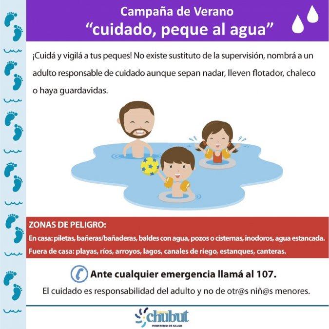 Chubut: Cuidado, peque al agua, la nueva campaña del Ministerio de Salud