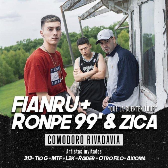 Zica, Ronpe99 y Fianru se presentarán en Comodoro Rivadavia