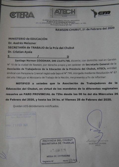 Chubut: Los docentes declararon un paro de 72 horas y no comienza el ciclo lectivo