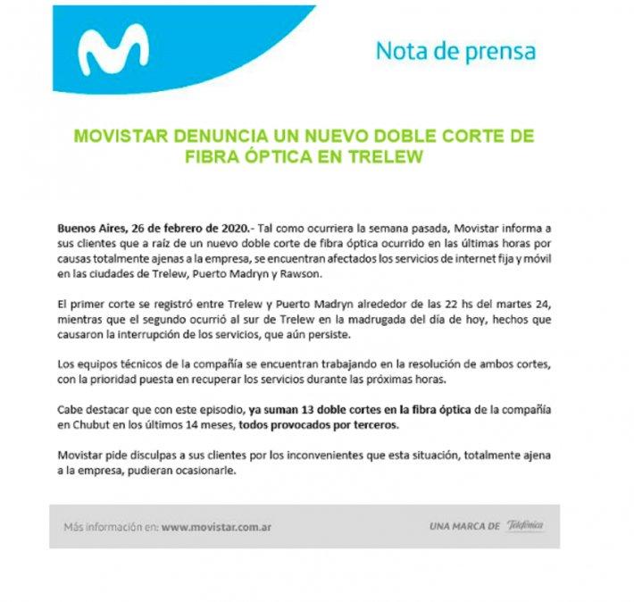Movistar emitió el comunicado oficial en torno a los cortes de la fibra óptica en el Valle.