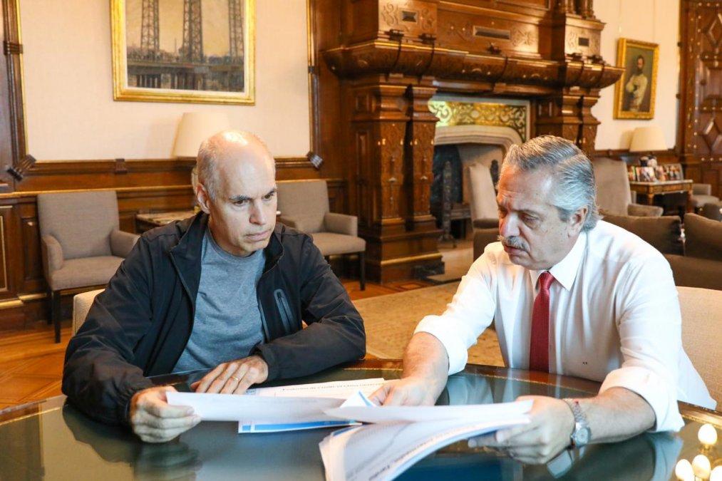 Alberto Fernández y Horacio Larreta.