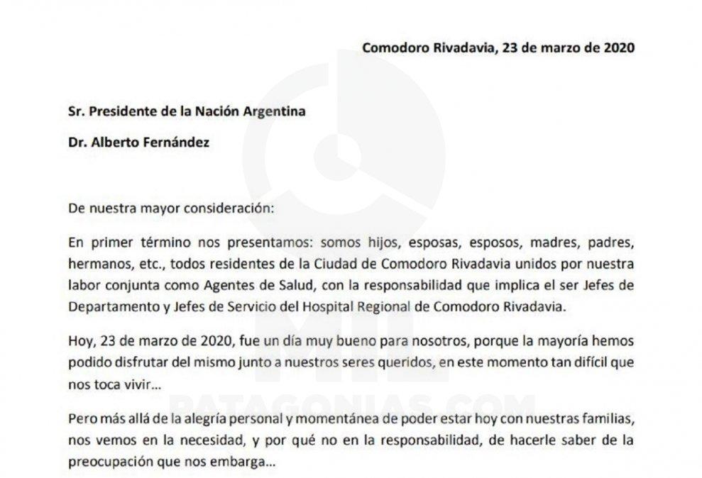 Carta a Alberto Fernández.