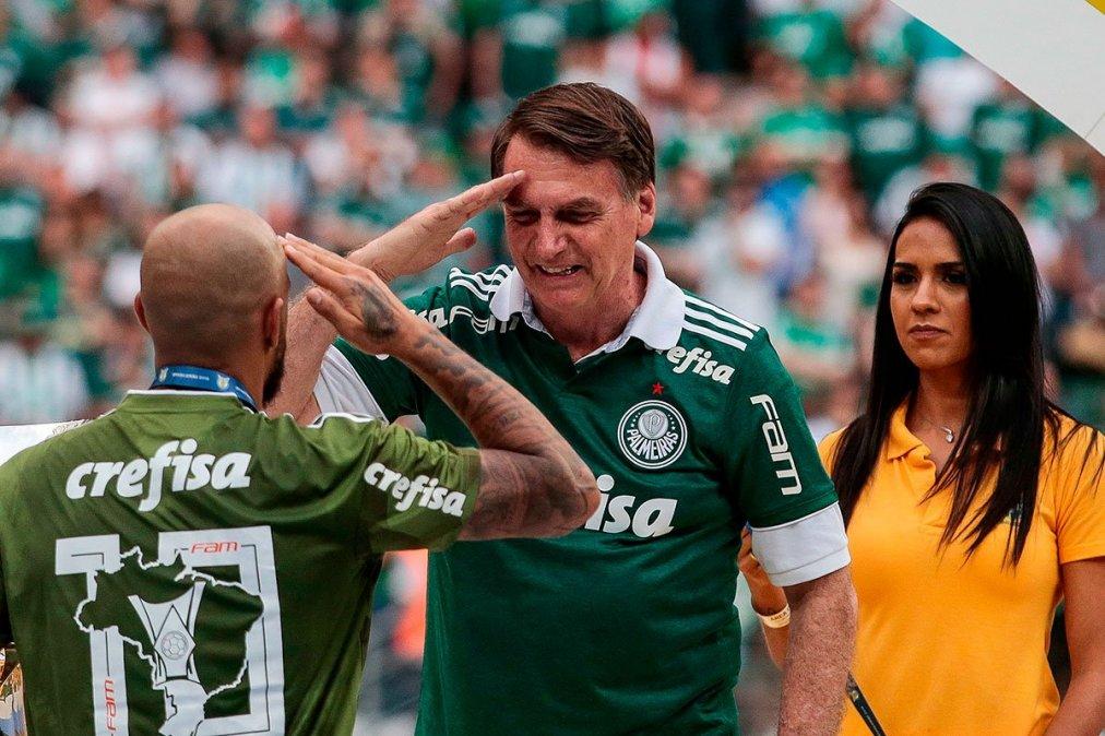 Bolsonaro en la entrega de medallas al Palmeiras.
