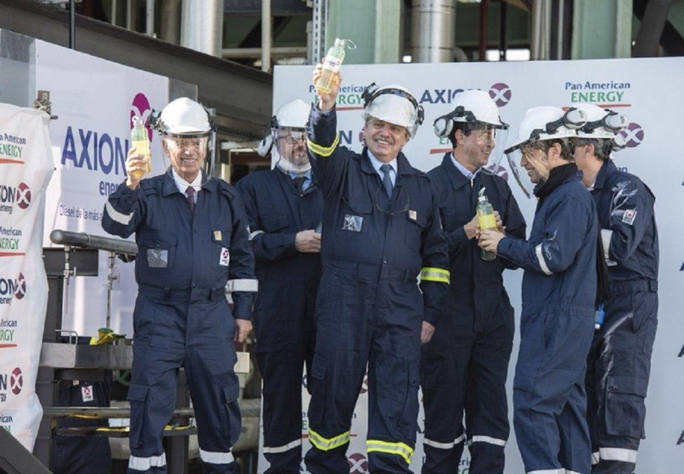 El Presidente Alberto Fernández dejó inaugurada hoy la primera planta refinadora de Gasoil Premium que construyó Pan American Energy en Campana