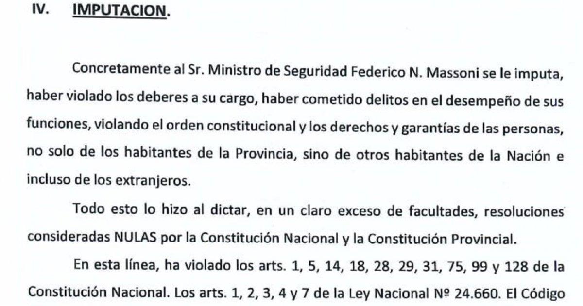 Los abogados Bordier y Castro presentaron este pedido contra el ministro de Seguridad.