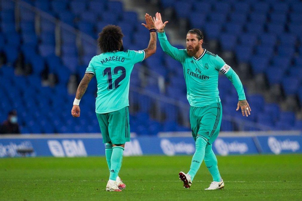 Sergio Ramos y Marcelo celebran el triunfo del Madrid.