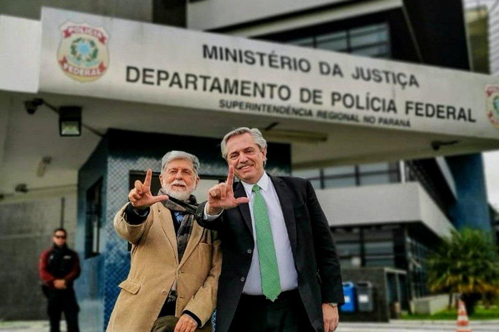 El presidente Alberto Fernández y el expresidente brasilero