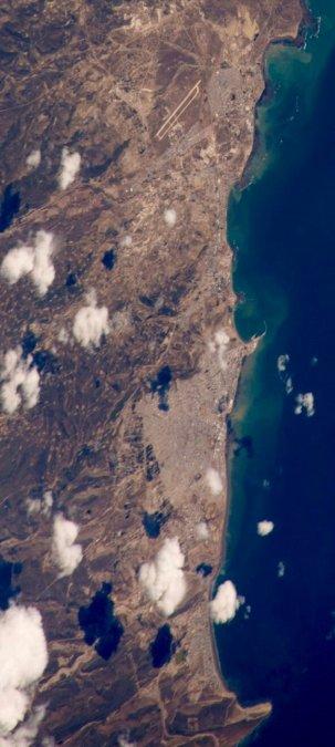 Comodoro y Rada Tilly vistos desde la Estación Espacial Internacional