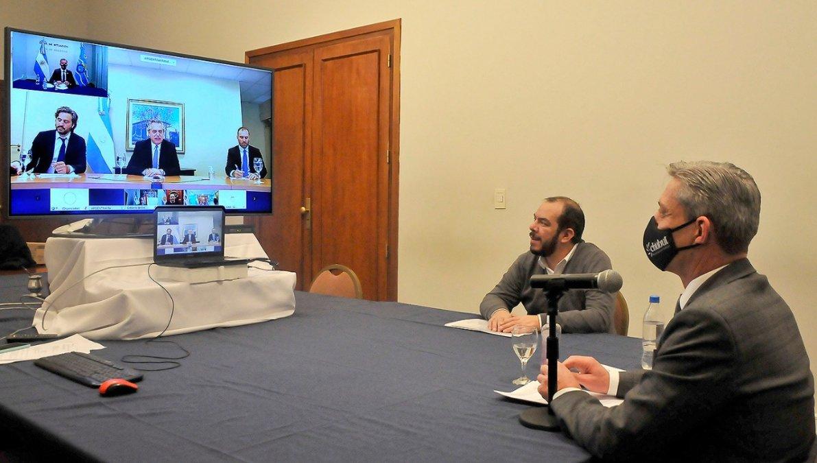 Mariano Arcioni en videoconferencia con el presidente de la Nación