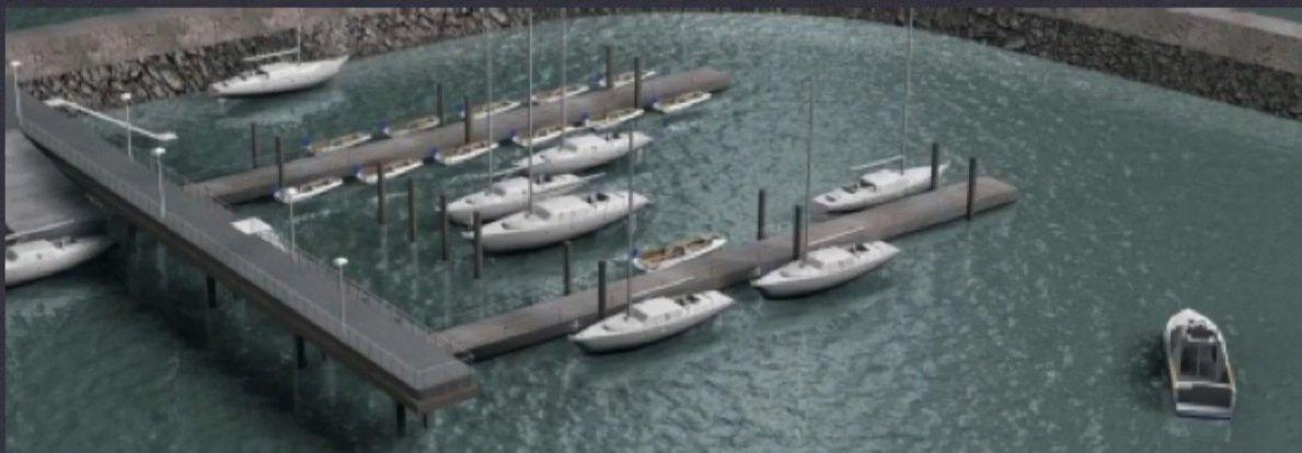 El Club Naútico Espora desarolló el proyecto de un puerto deportivo o una marina deportiva turística. (Imagen de maqueta)