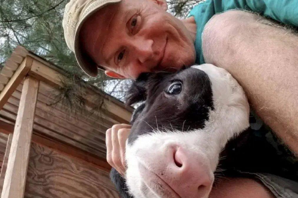 Una vaca llamada Jenna iba a ser sacrificado y un granjero que tiene un santuario la rescató. Ahora