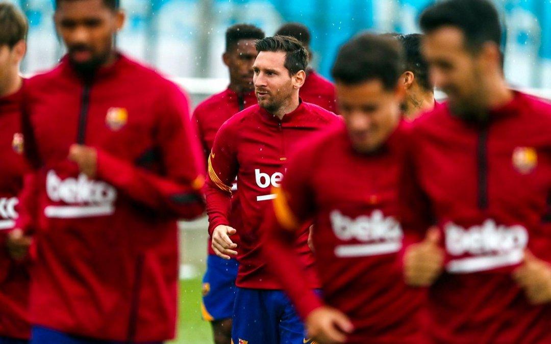 Messi en el entrenamiento del miércoles.