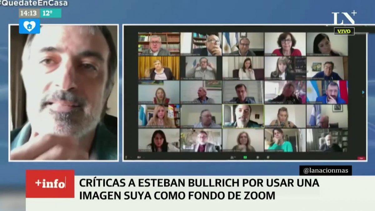 La gigantografía del Senador Esteben Bullrichdando el presente en un debate de Comisión. Foto: La Nación.