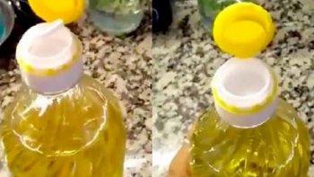 En un vídeo viral publicado en Twitter un usuario explicó para que sirve la segunda tapa que traer las botellas de aceite comestible,