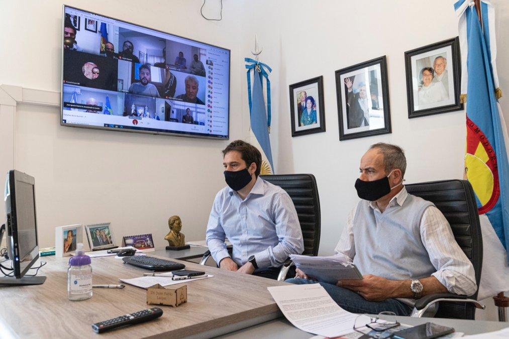 Juan Pablo Luque en videoconferencia con referentes del Ministerio del Interior.
