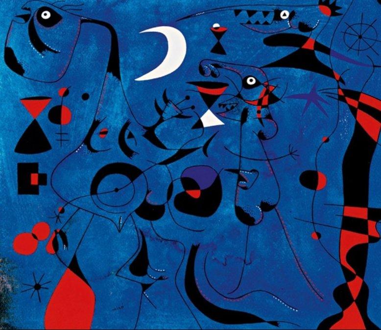 Joan Miró. Personajes en la noche guiados por los rastros fosforescentes de los caracoles