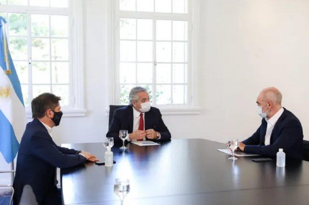 Alberto Fernández junto a Axel Kicillof y Horacio Rodríguez Larreta.