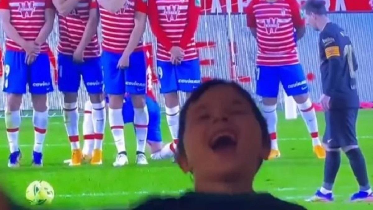 El festejo de Mateo Messi por el gol de Lionel