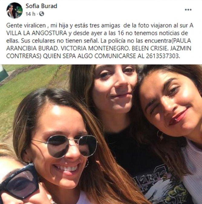 La madre de una de las chicas que buscan hizo una publicación en el Facebook.