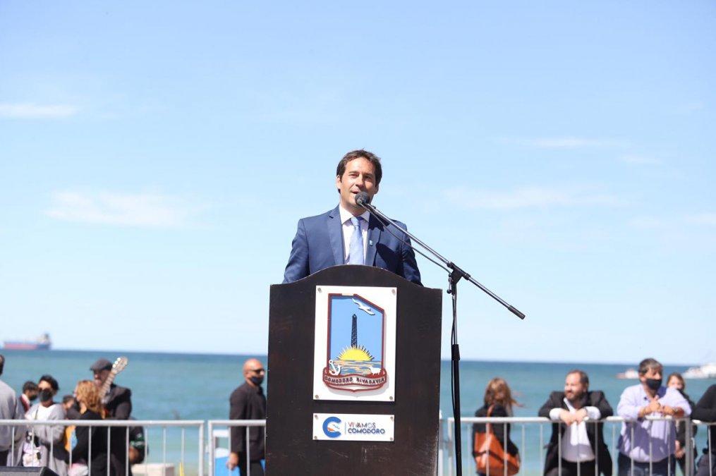 Juan Pablo Luque en el acto del Aniversario de Comodoro Rivadavia.