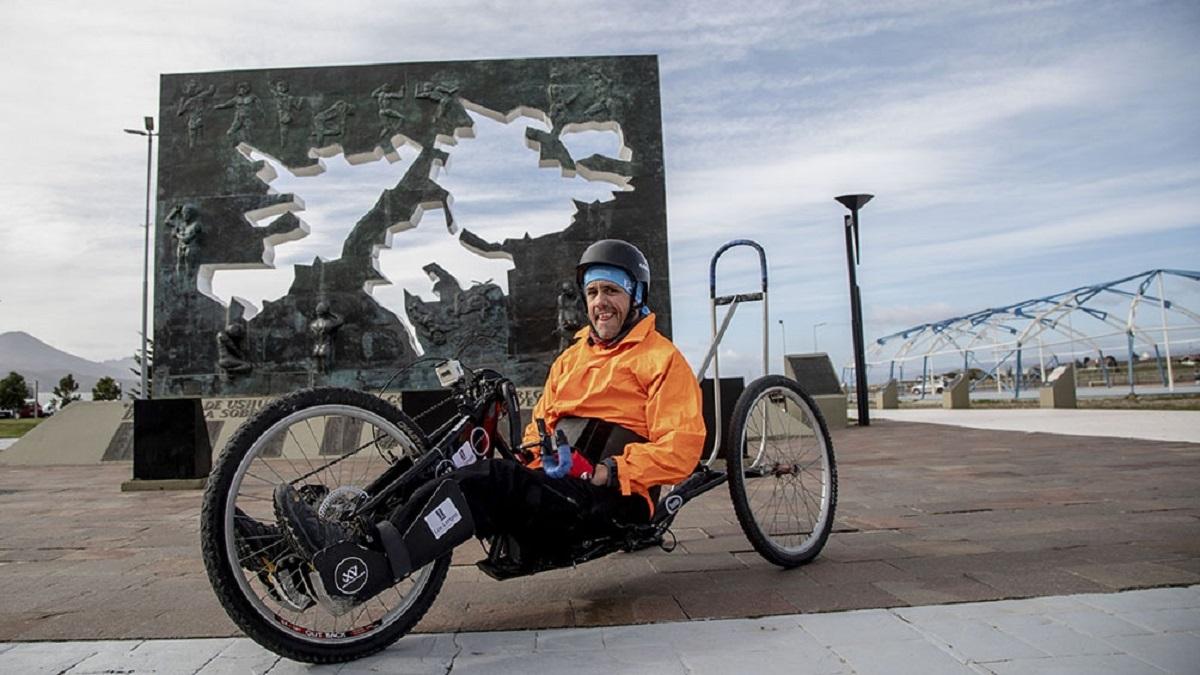 Cruzó la Cordillera de Los Andes en una bicicleta adaptada: Hay que derribar muros mentales. Foto: Télam