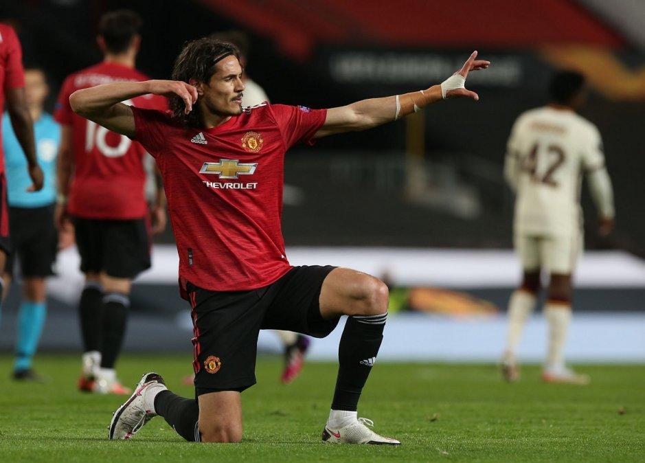 Cavani marcó por duplicado en la victoria del Manchester United ante Roma por las semifinales de la Europa League.