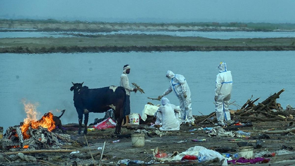 En la India se ha llegado a poner una red en el río Ganges para recoger cadáveres de víctimas del COVID.