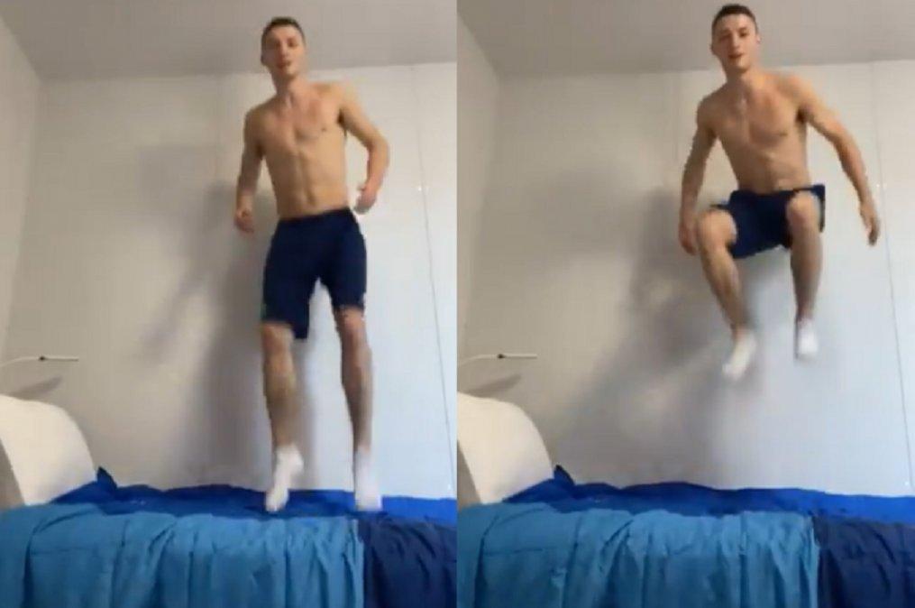 El gimnasta norirlandés Rhys Mcclenaghan grabó un video que desmiente la noticia de las camas anti-sexo.
