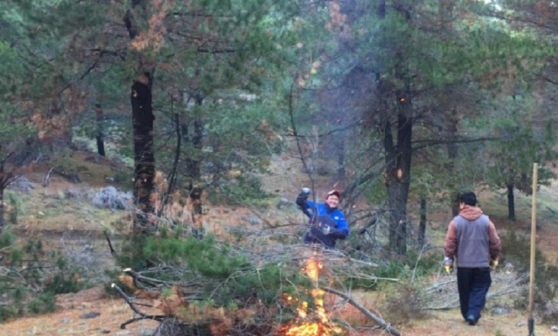 En Esquel realizan trabajos de poda y raleo para prevenir incendios en bosques comunales. Foto: Radio 3 Cadena Patagonia.