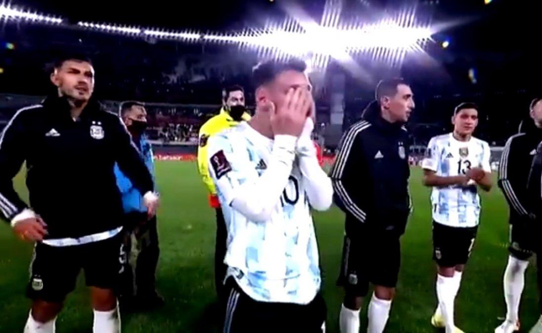 Messi emocionado durante los festejos de la obtención de la Copa América.
