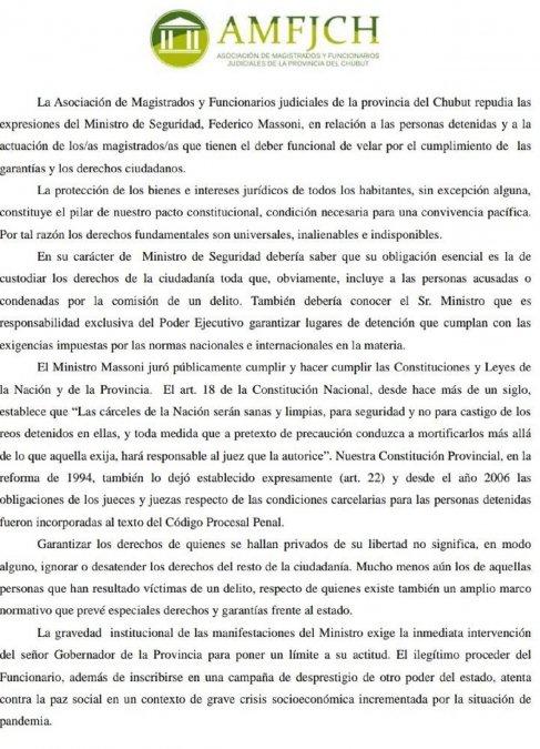 La Asociación de Magistrados y Funcionarios Judiciales de la Provincia del Chubut repudió las expresiones del Ministro de Seguridad, Federico Massoni.