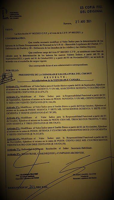 La resolución que indica el aumento de los diputados de la Provincia del Chubut. Foto: El Extremo Sur.