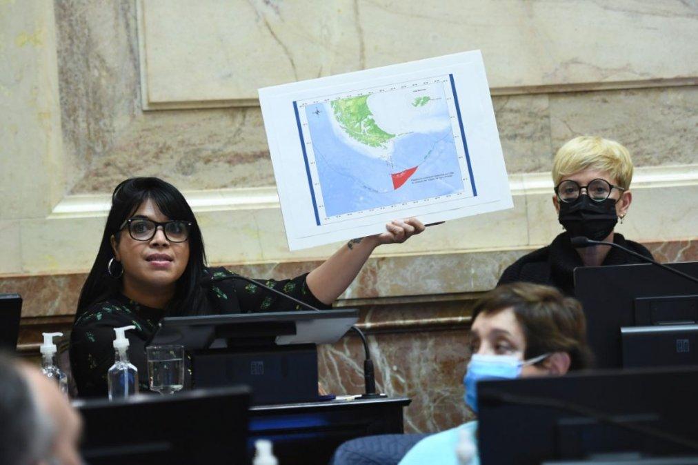 La senadora María Eugenia Duré apoyó su discurso en mapas de la zona en discusión. (Foto: Comunicación Senado)